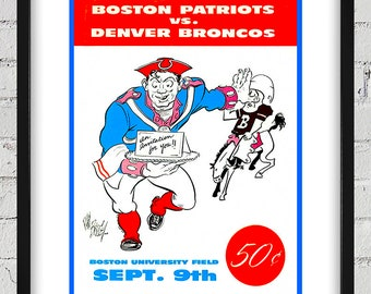 1960 Vintage Denver Broncos - Boston Patriots Football Program Cover - Digital Reproduction - Print or Matted or Framed