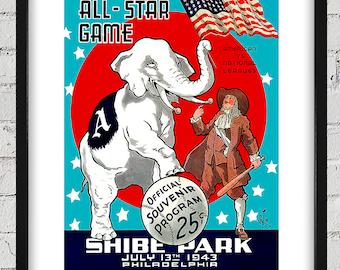 d19fe65a8dafc 1943 Vintage All-Star Game Program Cover -Shibe Park