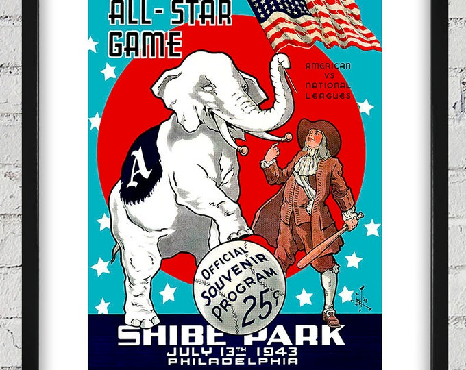 Featured listing image: 1943 Vintage All-Star Game Program Cover -Shibe Park, Philadelphia, PA - Digital Reproduction - Print or Matted or Framed