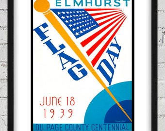 1939 Vintage WPA Poster - Flag Day - Digital Reproduction - Print or Matted or Framed