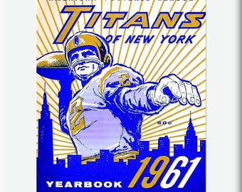 1961 Vintage New York Titans Football Yearbook - Digital Reproduction - Print or Matted or Framed