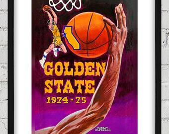 1974-1975 Vintage Golden State Warriors Yearbook Cover - Digital Reproduction - Print or Matted or Framed