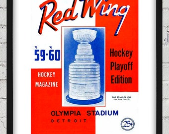 1959-1960 Vintage Detroit Red Wings Hockey Program Cover - Digital Reproduction - Print or Matted or Framed