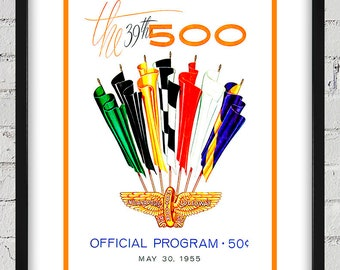 1955 Vintage Indianapolis 500 Racing Program Cover - Digital Reproduction - Print or Matted or Framed