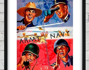 1943 Vintage Army - Navy Football Program Cover - Digital Reproduction - Print or Matted or Framed