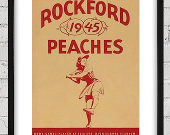 1945 Vintage Rockford Peaches Baseball Yearbook Cover - Digital Reproduction - Print or Matted or Framed