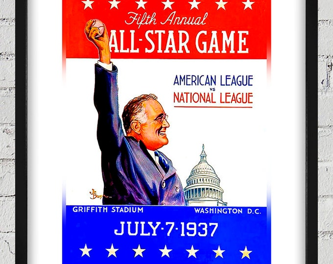 Featured listing image: 1937 Vintage Baseball All-Star Game Program Cover - Washington D.C. - Digital Reproduction - Print or Matted or Framed