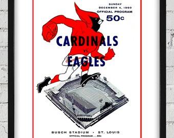 1960 Vintage St Louis Cardinals - Philadelphia Eagles Football Program  Cover - Digital Reproduction - Print or Matted or Framed