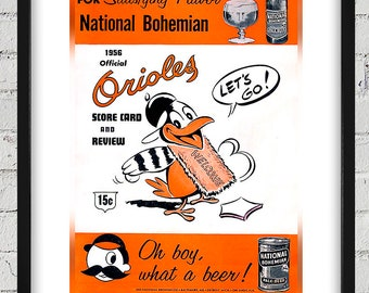 1956 Vintage Baltimore Orioles Scorebook Cover - Digital Reproduction - Print or Matted or Framed