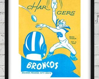 1963 Vintage Denver Broncos - San Diego Charges Football Program Cover - Digital Reproduction - Print or Matted or Framed