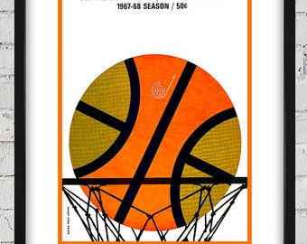 1967- 1968 Vintage Seattle SuperSonics Basketball Program Cover - Digital Reproduction - Print or Matted or Framed
