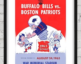 1963 Vintage Buffalo Bills - Boston Patriots Football Program Cover - Digital Reproduction - Print or Matted or Framed