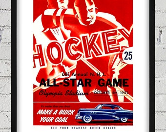 1952 Vintage All-Star Hockey Program Cover - Digital Reproduction - Print or Matted or Framed
