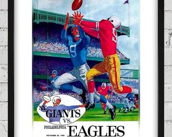 1960 Vintage New York Giants - Philadelphia Eagles Football Program Cover - Digital Reproduction - Print or Matted or Framed