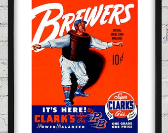 1951 Vintage Milwaukee Brewers Program Cover - Digital Reproduction - Print or Matted or Framed