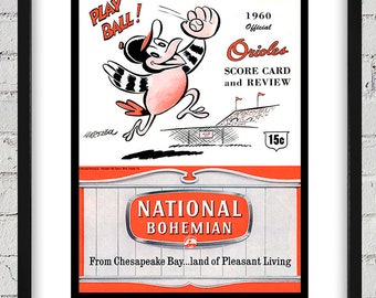 1960 Vintage Baltimore Orioles Scorebook Cover - Digital Reproduction - Print or Matted or Framed