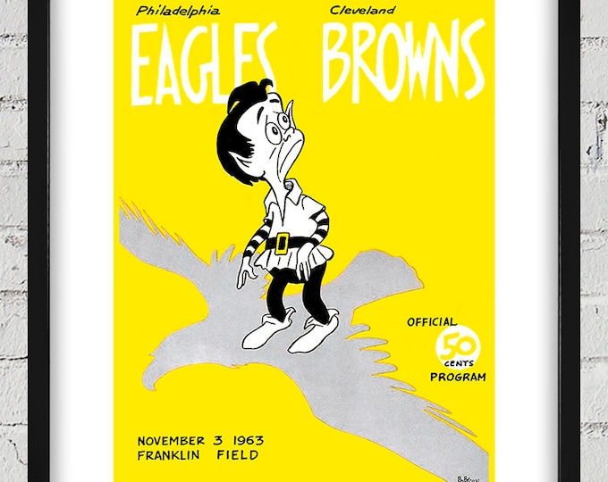 Featured listing image: 1963 Vintage Cleveland Browns - Philadelphia Eagles Football Program Cover - Digital Reproduction - Print or Matted or Framed