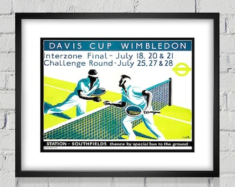 1936 Vintage Wimbledon Tennis Poster - Digital Reproduction - Print or Matted or Framed