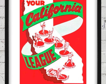 1949 Vintage California League Baseball Program Cover - Digital Reproduction - Print or Matted or Framed