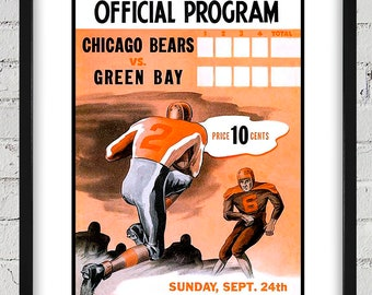 1944 Vintage Chicago Bears - Green Bay Packers Football Program Cover - Digital Reproduction - Print or Matted or Framed