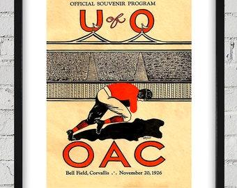 1926 Vintage University of Oregon - Oregon State Football Program Cover - Digital Reproduction - Print or Matted or Framed