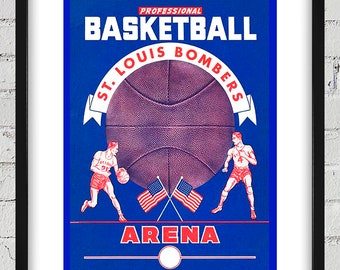 1949- 1950 Vintage St Louis Bombers Basketball Program Cover - Digital Reproduction - Print or Matted or Framed