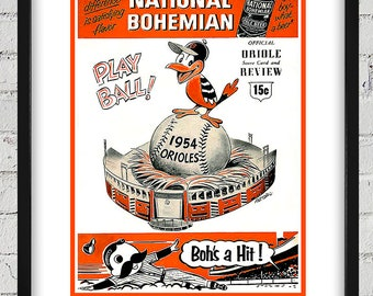 1954 Vintage Baltimore Orioles Scorebook Cover - Digital Reproduction - Print or Matted or Framed