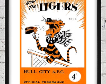 1956 Vintage Hull City Football Club - English Football Program Cover - Digital Reproduction - Print or Matted or Framed