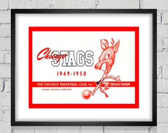 1949-1950 Vintage Chicago Stags Basketball Program Cover - Digital Reproduction - Print or Matted or Framed