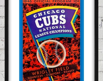 1946 Vintage Chicago Cubs - N.L. Champions Program Cover - Digital Reproduction - Print or Matted or Framed