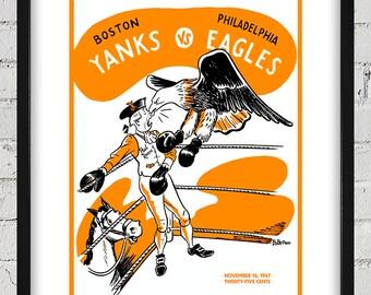 1947 Vintage Boston Yanks - Philadelphia Eagles Football Program Cover - Digital Reproduction - Print or Matted or Framed