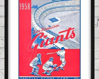 1958 Vintage San Francisco Giants Program Cover - Digital Reproduction - Print or Matted or Framed