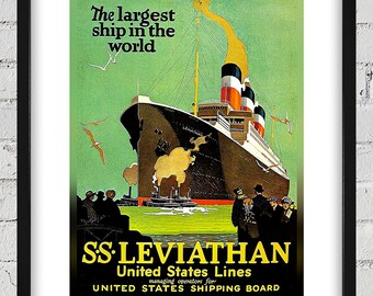 1920's Vintage United States Lines Travel Poster - SS Leviathan - Digital Reproduction - Print or Matted or Framed