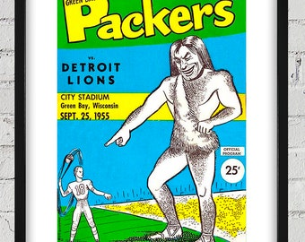 1955 Vintage Detroit Lions - Green Bay Packers Football Program Cover - Digital Reproduction - Print or Matted or Framed