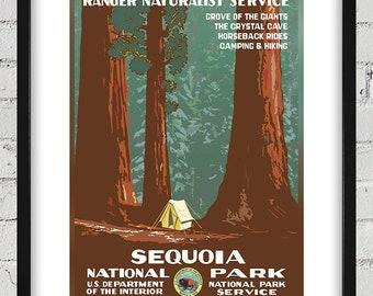 1938 Vintage WPA Poster - Sequoia National Park - Digital Reproduction - Print or Matted or Framed