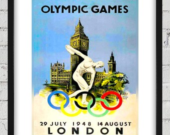 1948 Vintage London Olympic Poster - Digital Reproduction - Print or Matted or Framed