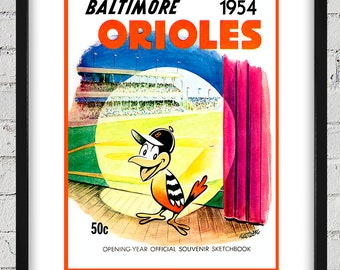 1954 Vintage Baltimore Orioles Sketchbook Cover - Opening Year - Digital Reproduction - Print or Matted or Framed