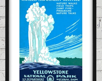 Vintage WPA Poster - Old Faithful - Yellowstone National Park - Digital Reproduction - Print or Matted or Framed