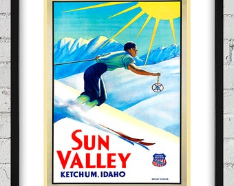 1940's Vintage Sun Valley Travel Poster - Union Pacific - Digital Reproduction - Print or Matted or Framed