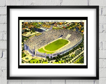 1930's Vintage Los Angeles Coliseum (Olympic Stadium) Postcard - Digital Reproduction - Print or Matted or Framed