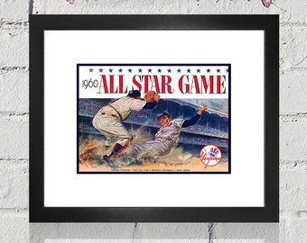 1960 Vintage All-Star Game Program Cover- Yankee Stadium - Digital Reproduction - Print or Matted or Framed
