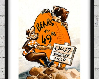 1954 Vintage San Francisco 49ers - Chicago Bears Football Program Cover - Digital Reproduction - Print or Matted or Framed