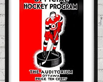 1932-1933 Vintage Ottawa Senators Hockey Program - Digital Reproduction - Print or Matted or Framed