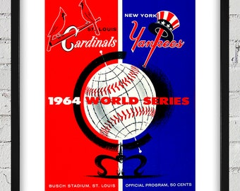1964 Vintage New York Yankees - St Louis Cardinals - World Series Program Cover - Digital Reproduction - Print or Matted or Framed