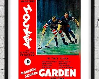 1936-1937 Vintage New York Rangers Hockey Program - Digital Reproduction - Print or Matted or Framed