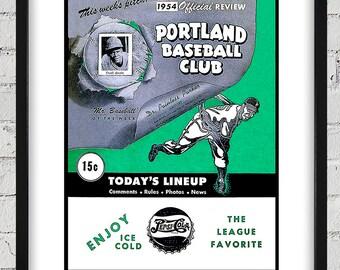 1954 Vintage Portland Beavers Program Cover - Digital Reproduction - Print or Matted or Framed
