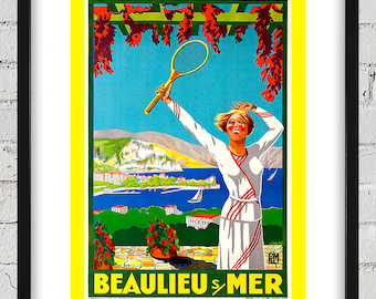 1925 Vintage Viano BEAULIEU SUR MER Tennis Poster - Digital Reproduction - Print or Matted or Framed