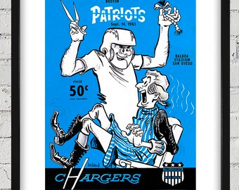 1963 Vintage San Diego Charges -Boston Patriots Football Program - Digital Reproduction - Print or Matted or Framed