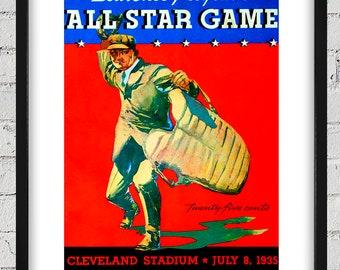 1935 Vintage Cleveland Indians - All-Star Game Program Cover - Digital Reproduction - Print or Matted or Framed