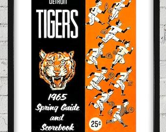 1965 Vintage Detroit Tigers Spring Guide Scorecard Cover - Digital Reproduction - Print or Matted or Framed